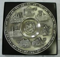 Sběratelský cínový talíř od Zinn-Becker, 95 % cínu, dva kusy