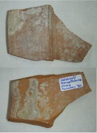 Střep nalezený na nádvoří domu Marca Pola, Benátky 1983