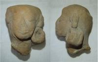 Hlava člověka, vyrobena z hlíny, Stř. Amerika, pravděpodobně Mexiko