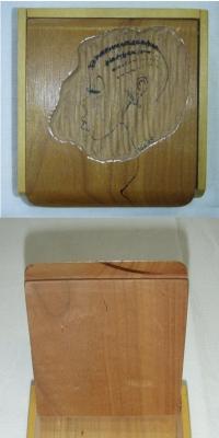 Krabička s vyobrazením hlavy ženy, originál B. Formana, 1945