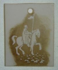 Přívěsek ze skla jezdec na koni