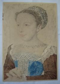 Litografie - žena v historickém kostýmu