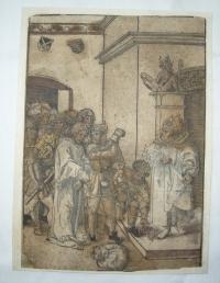 Christus Vor Kaiphas, originál Lucas Cranach starší, litografie kolorovaného dřevorytu, r.1509