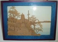 Krajina ze dřeva (motiv voda a věž)